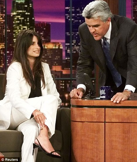 Tattooed lady: Penelope shows U.S. chat show host Jay Leno the 883 tattoo on