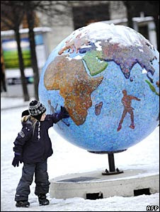 """A """"Cool Globe"""" part of an exhibition about combating global warming and climate change in Copenhagen"""