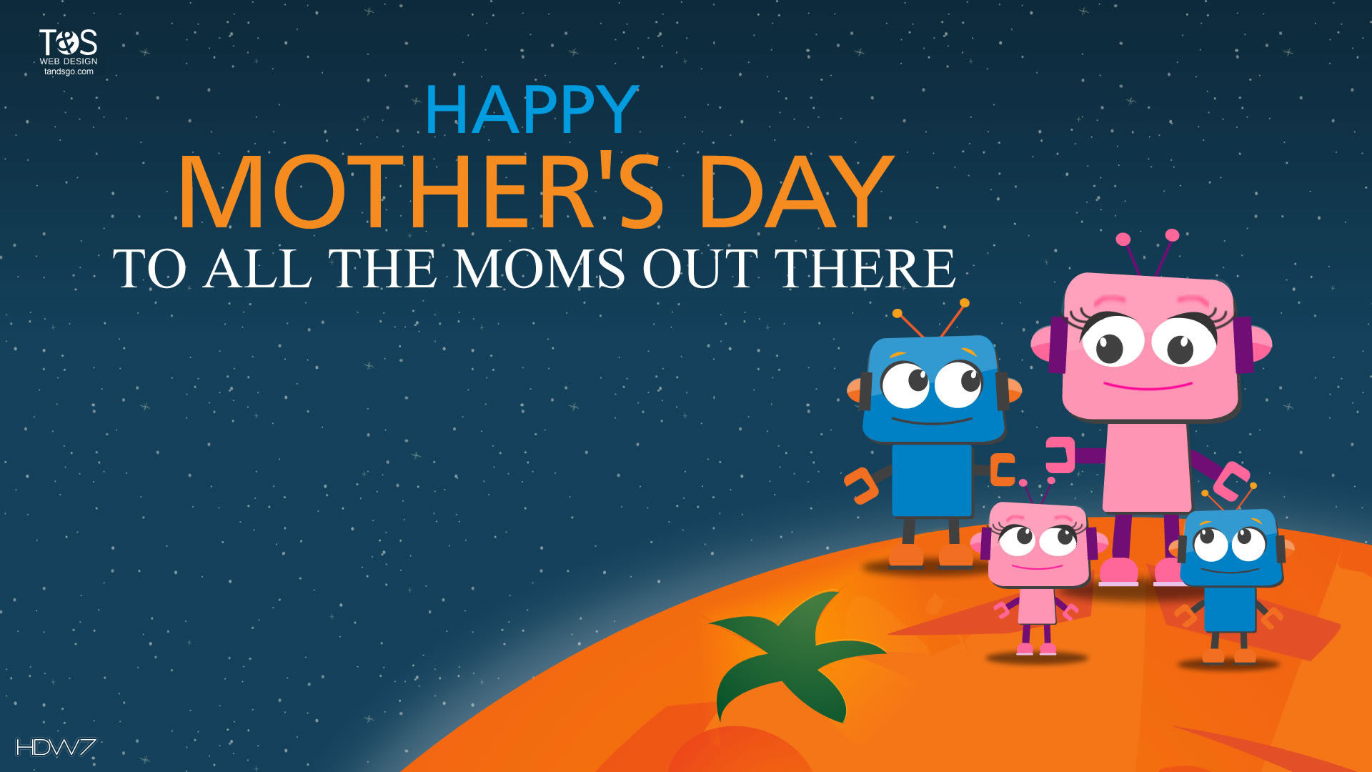 Happy Mothers Day Moms Robots Family Vector Illustration Holiday