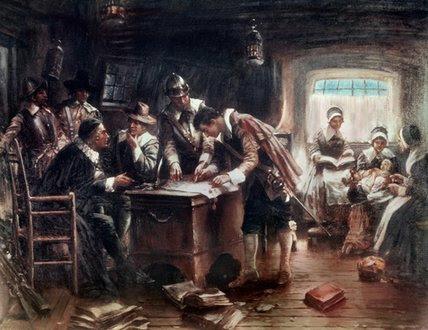 La firma del Pacto del Mayflower de Edward Percy Moran (1862-1935)