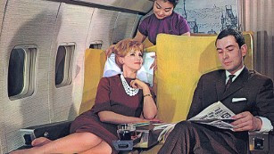Before inflight movies and Wi-Fi, passengers passed the time by reading books or newspapers. Or by caressing their necklaces and gazing off into the middle distance.
