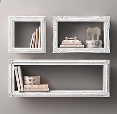 Find frames from a thrift store, attach wood to all sides, paint and hang on wall. Creative shelves.-  Connect with us at www.Facebook.com/TinyHousesAustralia