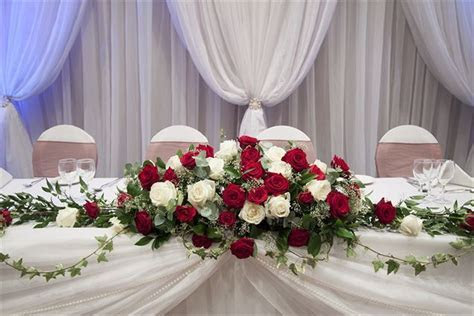 Red and Ivory Rose Top Table Spray Arrangement with