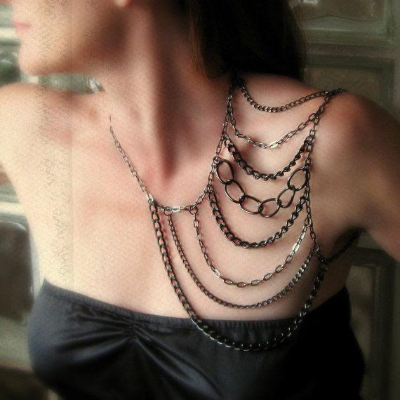 body chain shoulder harness gunmetal black by Novella on Etsy, $69.00