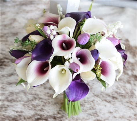 Purple Fillers Silk Wedding Bouquet   Real Touch Tulips