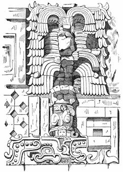 Detail of stone mosaic architectural sculpture, Casa del Gobernador, Uxmal