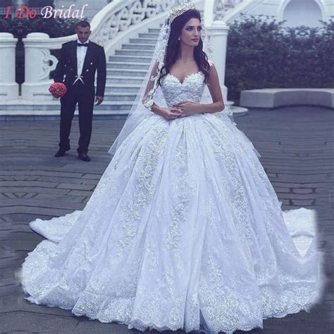 Luxury White Wedding Dresses Turkey Brautkleid Ball Gown