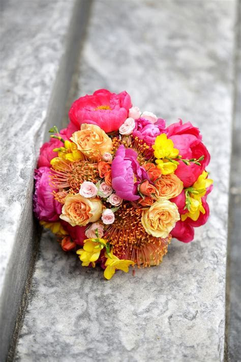 Summer Brights Peonies Yellow Orange Pink Bouquet  Union