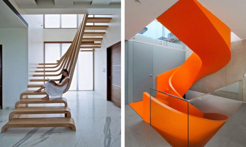 Escadas incrivelmente projetadas que estão um degrau acima das demais