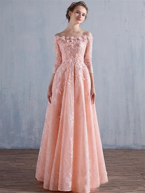 Floral Off Shoulder Coral Wedding Guest Dresses Elegant