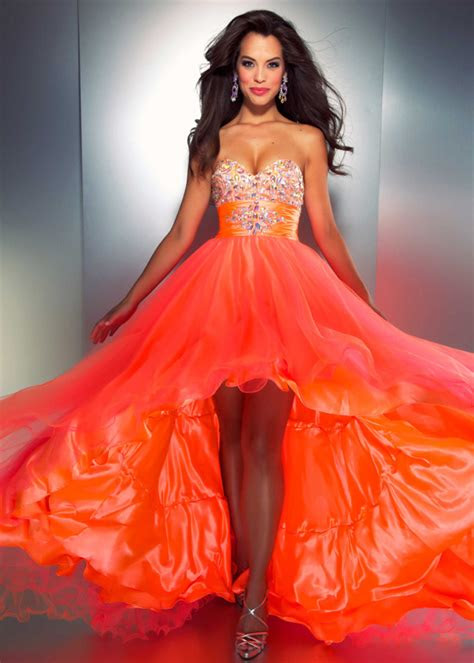 bright orange  lo organza senior prom evening formal