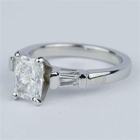radiant diamond engagement ring  baguette side diamonds