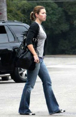 Jessica Biel wearing Carrie Valentine Relaxed Chic Handbag