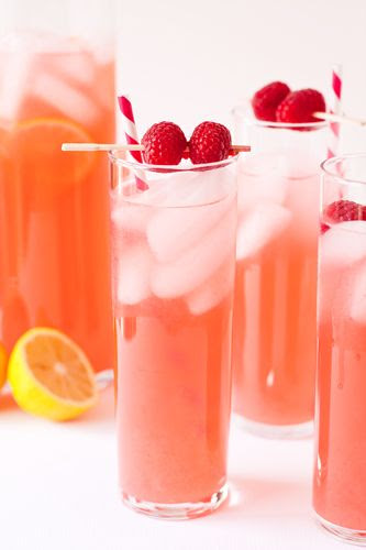 raspberry lemonade with vodka, topped with champagne. Yum.