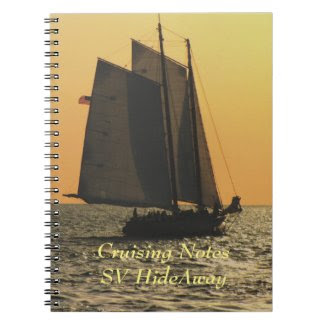 Gaff Rigged Sailboat sunset Note Book