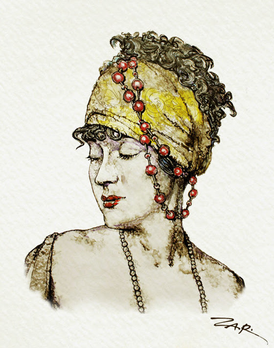 Zar Zahariev Art Deco Illustrations 6 Zar Zahariev Illustrations : Belle Dame au Chapeau