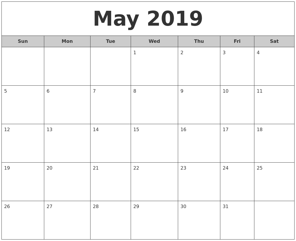may 2019 free monthly calendar