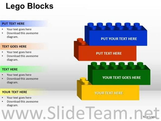 4 Staged Lego Block Diagram Powerpoint Diagram