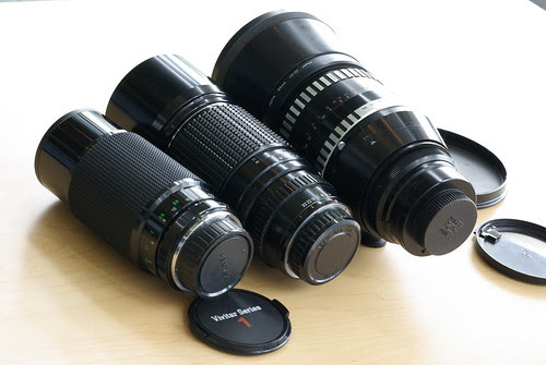 Vivitar Series 1 70-210mm f/3.5 Tokina, Pentax 300mm f/4.0, Carl Zeiss 180mm f/2.8 (M42)