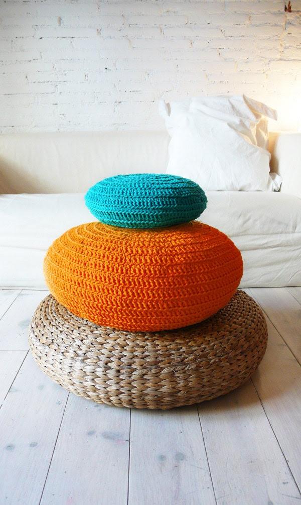 Floor Cushion Crochet -  orange - lacasadecoto