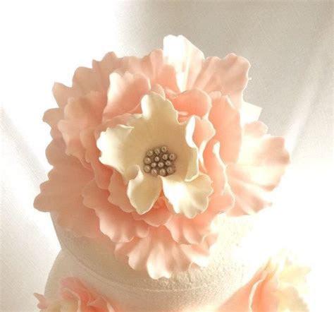Fondant Flowers, XL Vintage Pink White Silver Peony