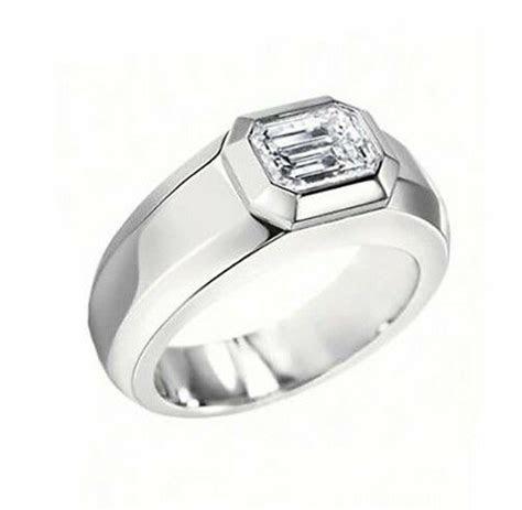 ct mens emerald cut diamond wedding ring gia gvvs ebay