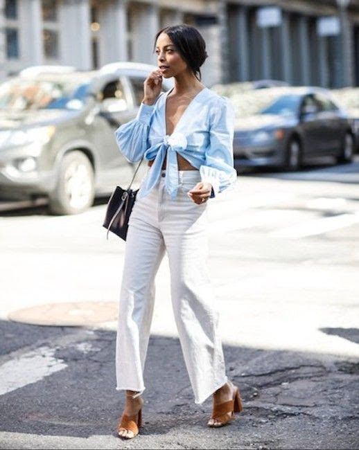 Le Fashion Blog Summer Tie Front Blue Blouse White Wide Leg Jeans Heeled Suede Mules Via @waityouneedthis
