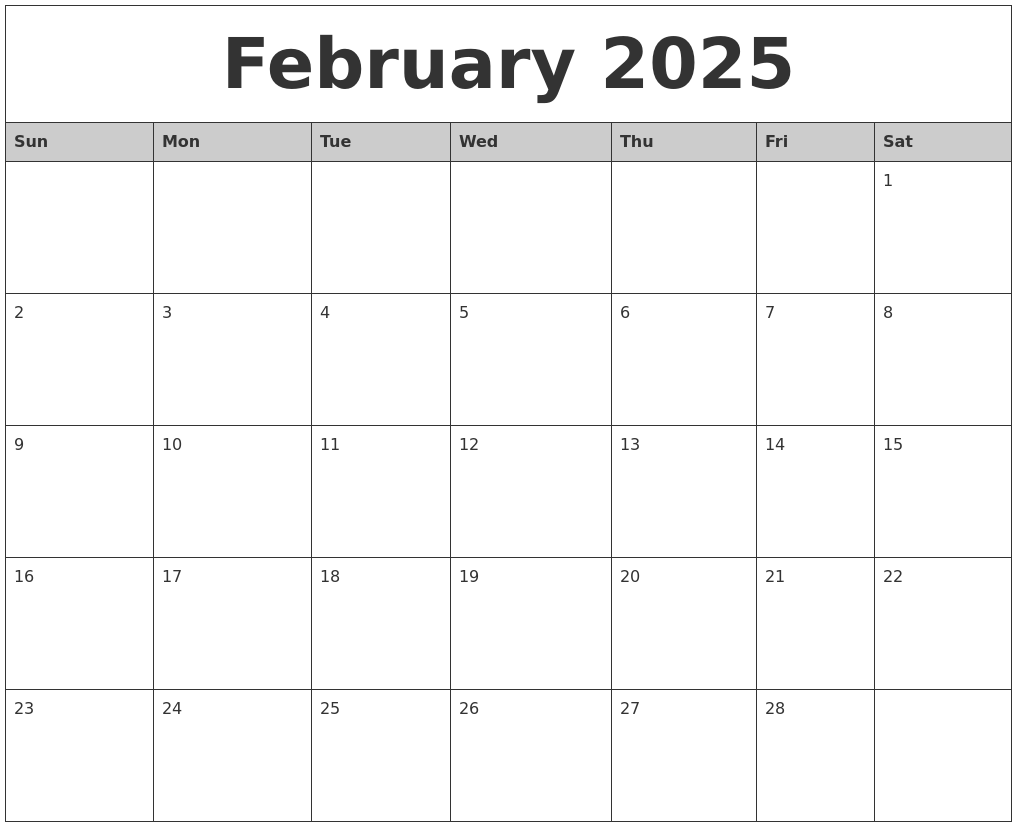 february 2025 monthly calendar printable