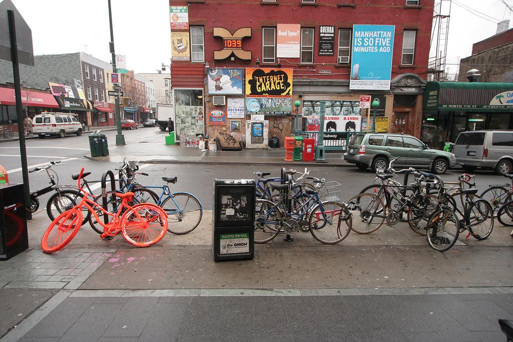 Hey, it's one of those orange DKNY bikes