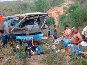 Acidente com ônibus na BR-116, na Bahia (Foto: Blog do Léo Santos)
