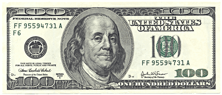 US hundred dollar bill