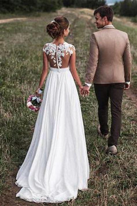 Lace Appliques Cap Sleeves Long Chiffon Beach Wedding