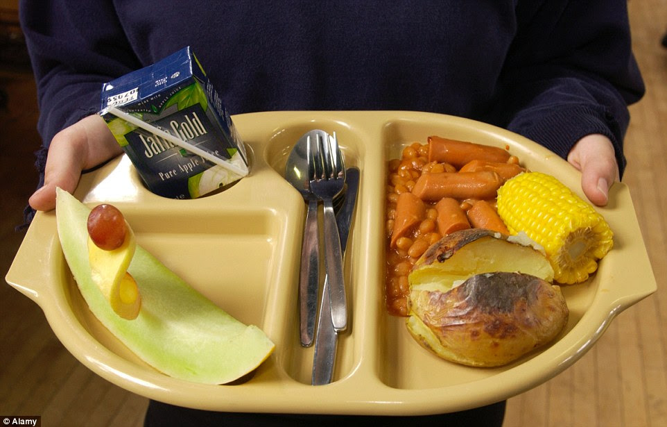 UK school dinner of frankfurters and beans, a baked potato, corn on the cob, slice of melon and a box drink