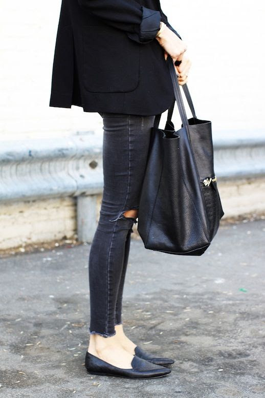 Le Fashion Blog Anine Bing Black Blazer Large Tote Distressed Grey Denim Leather Pointed Toe Flats Via The You Way