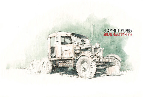 Scammell Pioneer - pencil by Stefan Marjoram