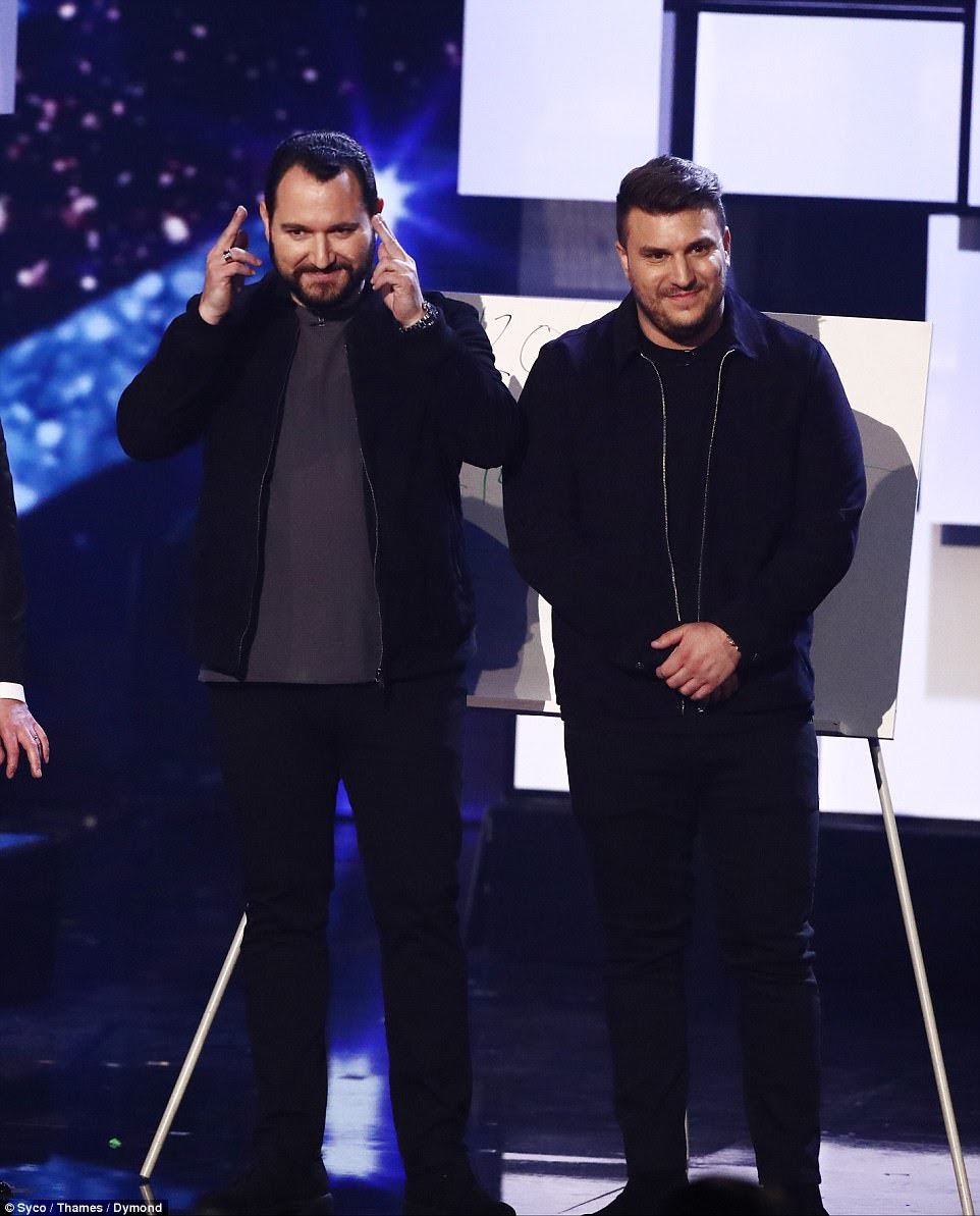 Double trouble:Illusionists DNA blew the judges away with their routine which saw them 'read minds' to predict numbers the judges would pick