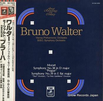 WALTER, BRUNO mozart; symphony no.38 in d major