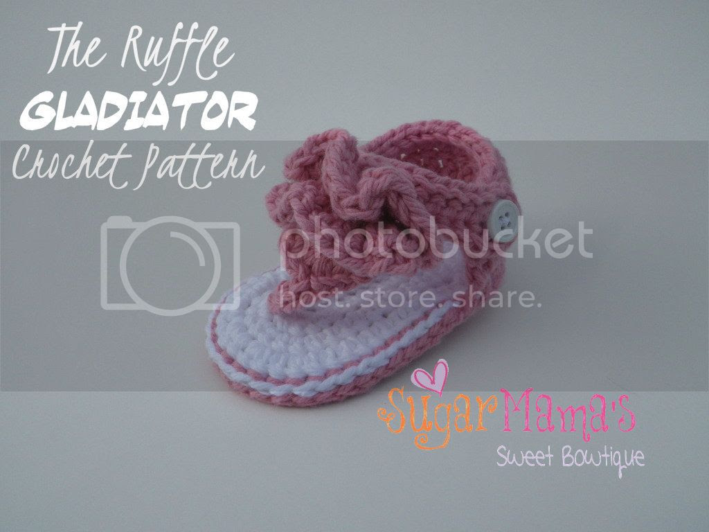 Ruffle Gladiator Baby Sandals Crochet Pattern by Amanda Moutos Designs