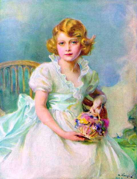 Princess Elizabeth of York (Queen Elizabeth II of England) at the age of 7
