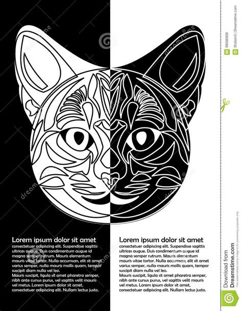 Black And White Cat Head In Inverse Leaflet Design