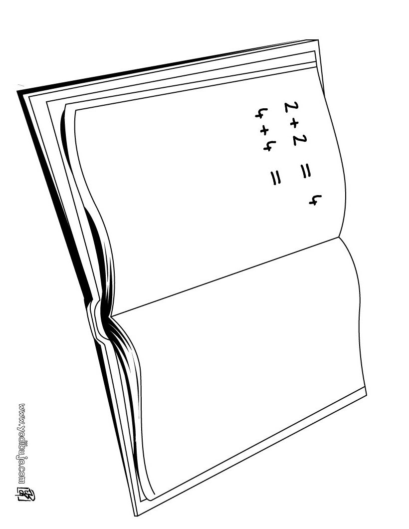 Dibujos Para Colorear Cuardeno De Matemáticas Eshellokidscom