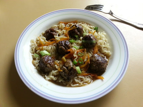 Thai meatballs and noodles