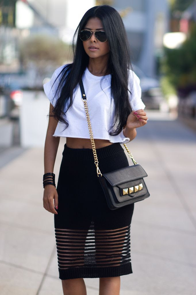 Black Stylish Skirts Top White Cropped