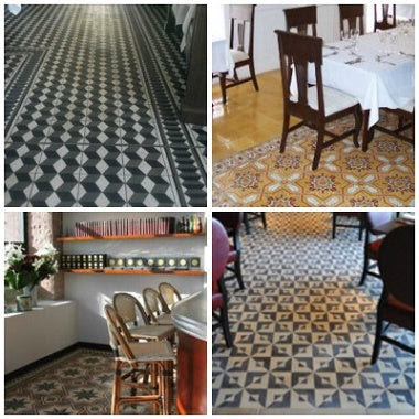 Customizable cement tiles used in various commercial installations.