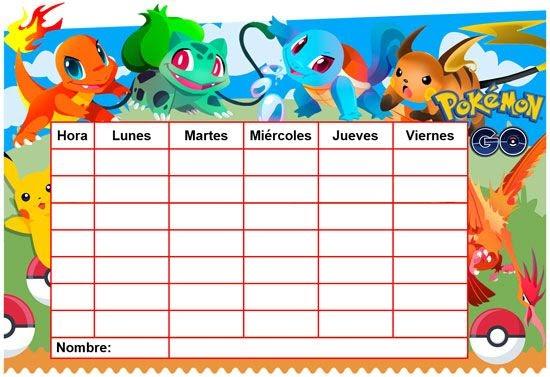 Horario escolar editable de pok mon go vector clipart for Horario naviera armas oficinas