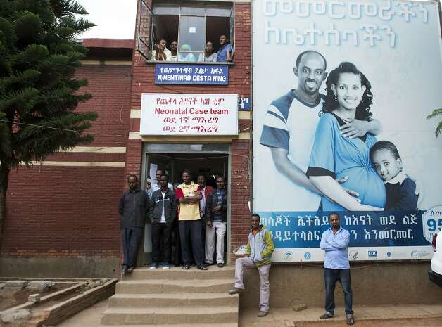 People gather at a neonatal center in Addis Ababa, Ethiopia, which increased life expectancy 19 years compared with 1990. Photo: Saul Loeb, AFP/Getty Images