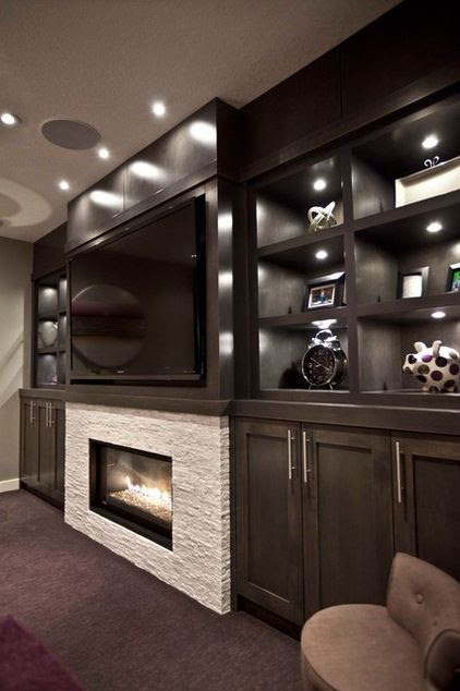 Contemporary Media Room Big Screen Tv Fireplace Maple Cabinets And Built In Lighting