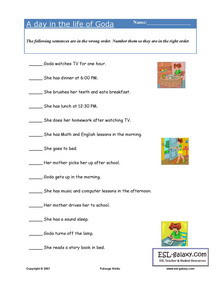 ESL, English vocabulary, printable worksheets, daily routines