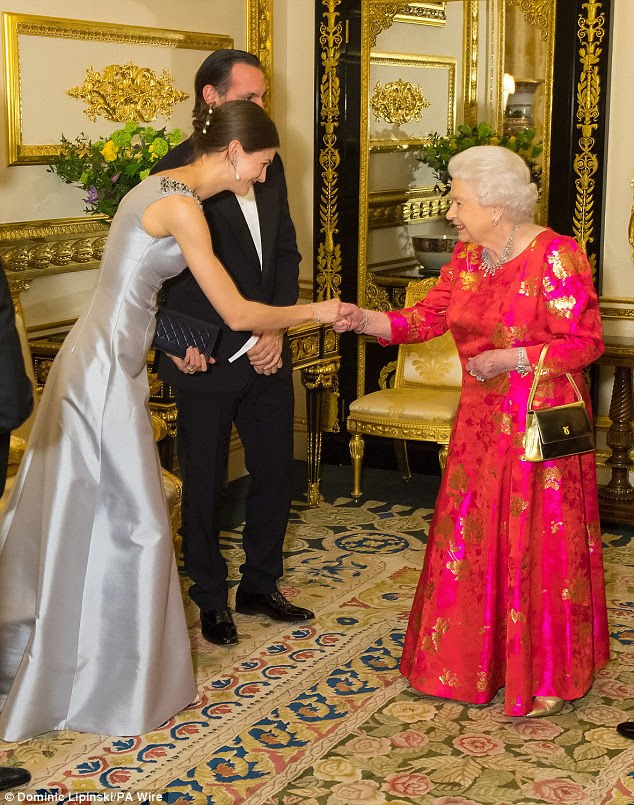 Princess Salwa Aga (pictured), the Aga Khan's daughter-in-law also demanded attention in a stunning dove grey satin gown