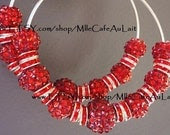 CLEARANCE Basketball Wives Celebrity Inspired Rhinestone Crystal Hoop Earrings- RUBY SLIPPERS